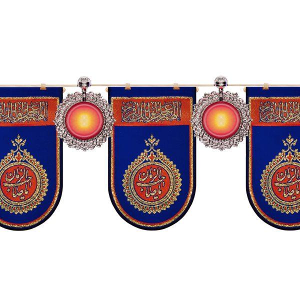 ریسه چراغ آذین خورشیدی(قرمز- آبی) همراه آویز زربافت(آبی)
